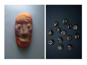 LEFT: Kim L Pace, Mask 21 (Uluru), 2019, glazed ceramic RIGHT: Sarah Woodfine, Just as the fire burns away all dross and rubbish, so the three-fold suffering purges the heart from all impurity, 2019, bronze, 60cm x 60cm x 5cm
