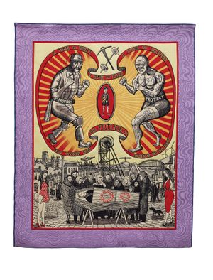Grayson Perry Death of a Working Hero, 2016 Tapestry 250 x 200 cm 98 3/8 x 78 3/4 in © Grayson Perry Courtesy the Artist, Paragon Press and Victoria Miro, London (Photographer: Stephen White)