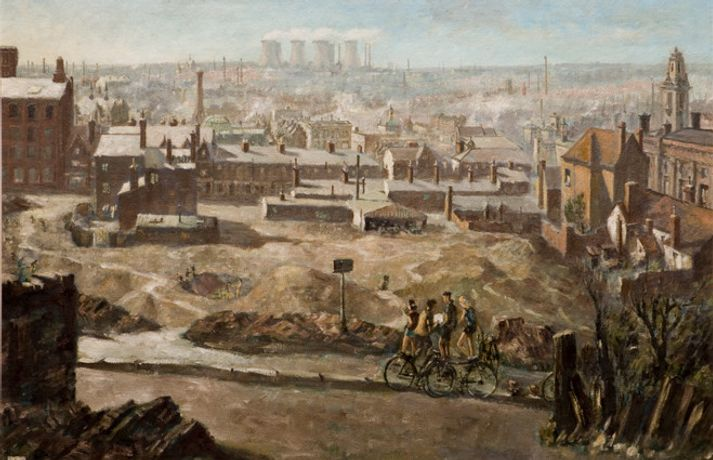 Herbert Wright, Walsall as seen from Peal Street, 1958. Oil on canvas