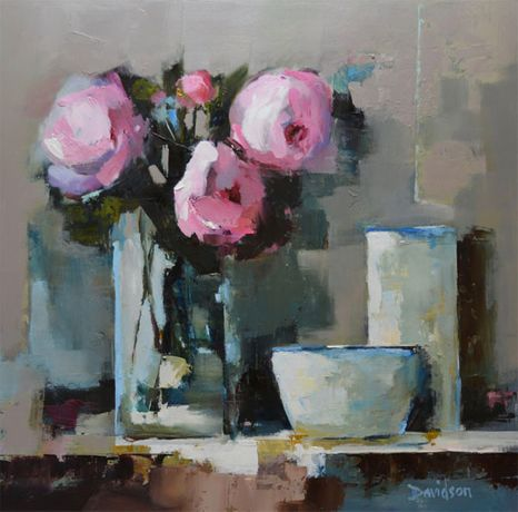 Mary Davidson Pink Peonies, Glass Vase