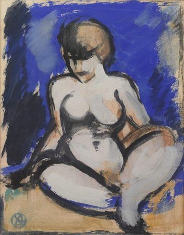John Duncan Fergusson (1874-1961) Blue Nude c1912 gouache courtesy the Fleming-Wyfold Art Foundation