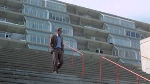 David Locke (Jack Nicholson)descending the now destroyed staircase that connected the podium level at  The Brunswick Centre, the location of the Renoir Cinema.