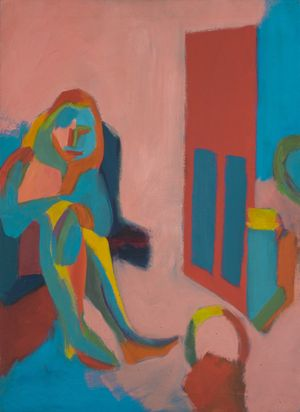 "Untitled (Seated Figure), 1967 Oil on canvas 41.5 x 29.5"" (105.4 x 74.9 cm) Private collection"