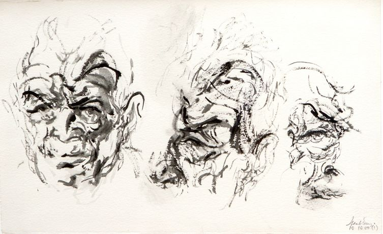 Maggi Hambling  Three Studies of  John Berger 2000