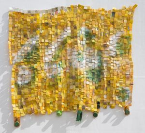 Serge Attukwei Clottey, My family made me, 2017, plastic, wire, oil paint, 60 x 72 inches (152.5 x 183 cm)