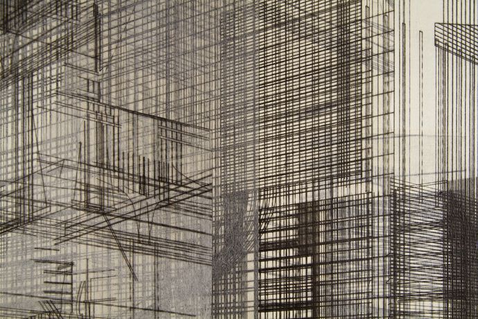 Tatu Tuominen: detail of Carceri Contemporanei (Säynätsalo Town Hall II), 2016, dry point and chine-collé