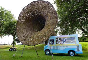 Oliver Macdonald – 'Untitled', ice cream van, willow, metal; image c. Ivan Coleman