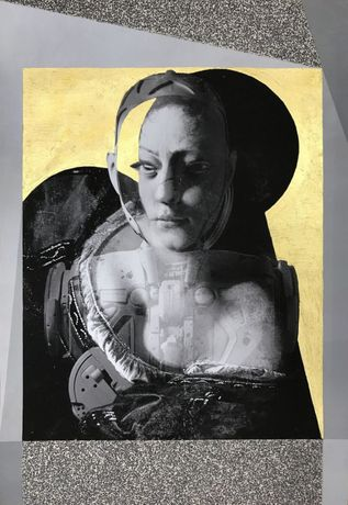 "Anna Ostoya – ""Judith and a Robot in a Gold Chamber"", inkjet print and acrylic on paper"