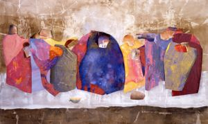 Shelia Girling, The Last Supper, 2004, acrylic and collage on canvas, 195.6 x 323.9cm © Courtesy of Barford Sculptures, Photo: John Riddy