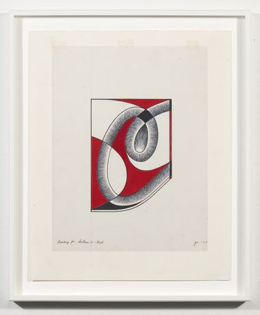 Judy  Chicago, Study for a Letter C #1, 1977, ink on mylar mounted on ink on paper Frame size: 40,64 x 35,56 cm