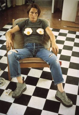Sarah Lucas, Self-Portrait with Fried Eggs 1996 Copyright the artist, Courtest of Sadie Coles HQ, London