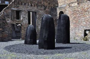 David Nash, Three Black Humps. A Meadow Arts & Ironbridge Gorge Museum Trust commission 2015.