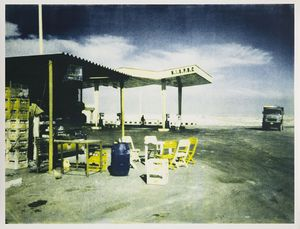 Shirana Shahbazi, From the series Bern: Gasstation, 2014, Two-colored lithography on Zerkall Bütten Paper, framed in white glazed maple frame, behind non-reflective glass, 94 x 122 cm, 1 AP (Ed. of 2)