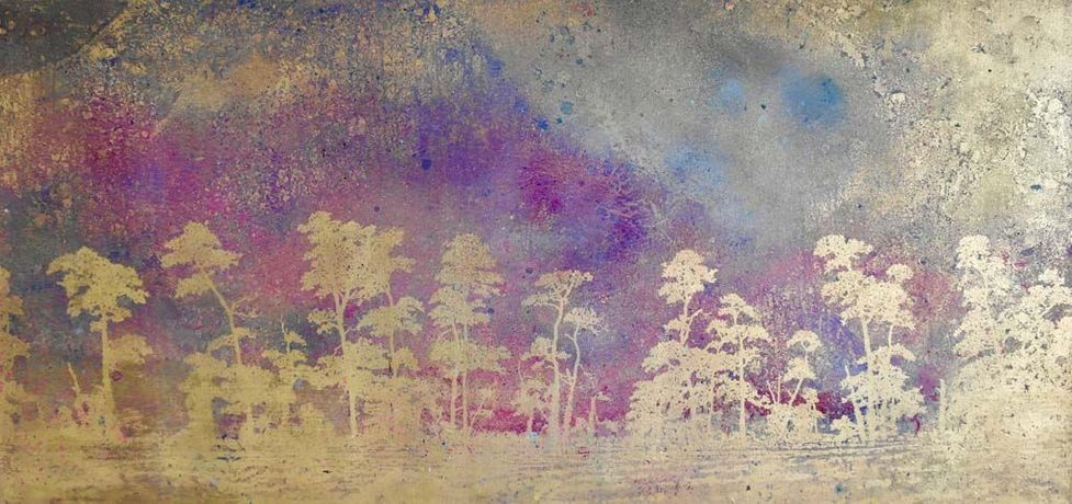 Cocley Cley Pine Rows, Oil and Gold Leaf on Canvas, 170cm x 80cm, £3800
