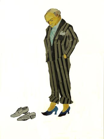 Silvana Soriano. Wear my Shoes!, 2020. Collage and Drawing on Paper. 18 x 12 in.
