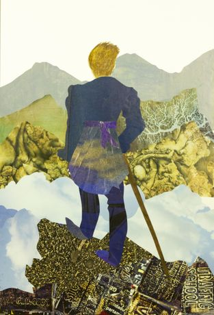 Silvana Soriano. Dèuè Mòn, Gen Mòn (Behind mountains, more mountains), 2020. Collage and Drawing on Paper. 18 x 12 in.