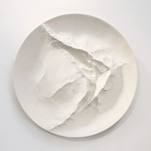 From a Mountain Stream, gesso on carved wood, 136 x 136 x 12 cm