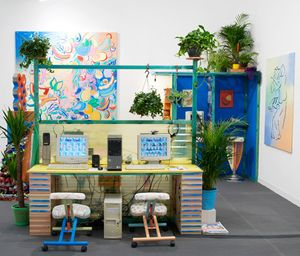 Sol Calero, Ciber Café, Installation View, Frieze London, 2014. Courtesy of the artist and Laura Bartlett Gallery, London.