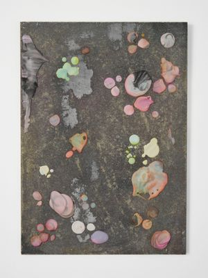 Sliders (21), 2015 Dried drips of coloured plaster, glue, wood 42 x 30 cm