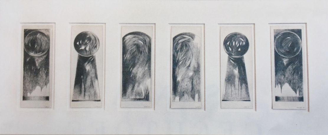 Six Icons 1964 Pencil on Paper each : 10.75 x 4 inches