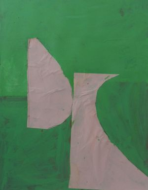 Green Pink (2014) Acrylic and collage on paper 74 x 63cm  Robert Sosner