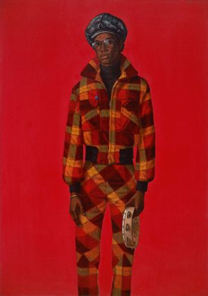 Barkley Hendricks (American, 1945–2017). Blood (Donald Formey), 1975. Oil and acrylic on canvas, 72 x 501/2 in. (182.9 x 128.3 cm). Courtesy of Dr. Kenneth Montague | The Wedge Collection, Toronto. © Estate of Barkley L. Hendricks. Courtesy of the artist's estate and Jack Shainman Gallery, New York. (Photo: Jonathan Dorado, Brooklyn Museum)