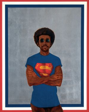 Barkley L. Hendricks Icon for my Man Superman (Superman Never Saved Any Black People-Bobby Seale) 1969 Oil, acrylic and aluminum leaf on linen canvas, 59 1/2 x 48 inches © Barkley L. Hendricks. Courtesy of the artist and Jack Shainman Gallery, New York