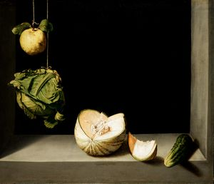 Juan Sánchez Cotán, Quince, Cabbage, Melon and Cucumber, ca 1602, San Diego, The San Diego Museum of Art, gift of Anne R. and Amy Putnam