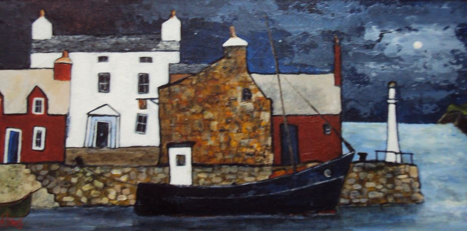 Moonlit quayside by Audrey Johns