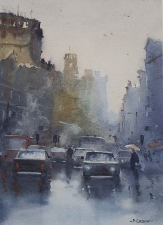 Queen Street, Cardiff in the rain by Peter Cronin