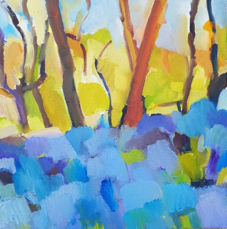 Bluebells, Beacon Wood by Julian Le Bas oil on canvas 50 x 50cm £850