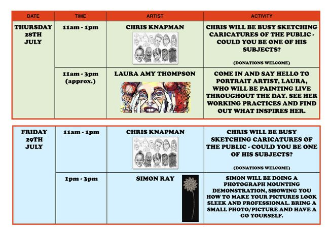 Timetable of Festival Activities (Thursday and Friday)