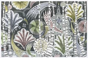 Angie Lewin 'Thames Fireworks' linocut