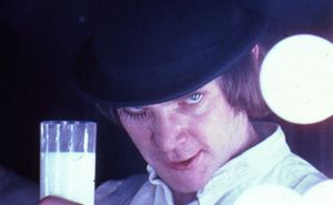 A Clockwork Orange, directed by Stanley Kubrick (1970-71; GB/United States). Alex DeLarge (Malcolm McDowell) in the Korova Milkbar. Still image. © Warner Bros. Entertainment Inc.