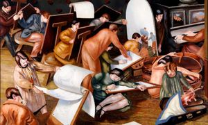 Stanley Spencer, The Art Class. Left outer panel from the Empire Marketing Board Series, 1929, oil on canvas. Gift from the Audrey & Stanley Charitable Trust, 2009. Photograph: University of Leeds Art Collection © The Estate of Stanley Spencer / Bridgeman Images