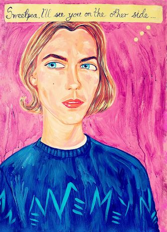 'River', acrylic on hand-made paper, a portrait of River Phoenix, by Stella Vine.