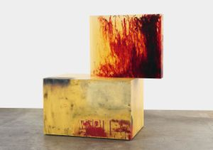 Sterling Ruby, ACTS/WS ROLLIN, 2011. Clear urethane block, dye, wood, spray paint, and formica. © Sterling Ruby.