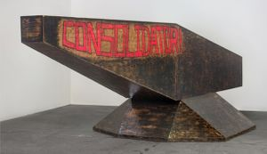 Sterling Ruby, Consolidator, 2008–2009  Wood, spray paint, and urethane, 69 x 92 x 253 in. (175.3 x 233.7 x 642.6 cm) Courtesy Sterling Ruby Studio