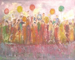 Margery Clarke, Celebration, 1989, oil-on-board.