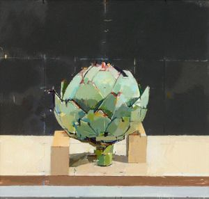Supported Artichoke, oil on panel, 23 x 23 cm by Mark Dunford