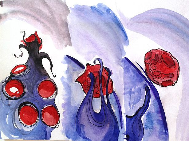 Watercolour panels for Red Blood Cells, Elizabeth Schuch