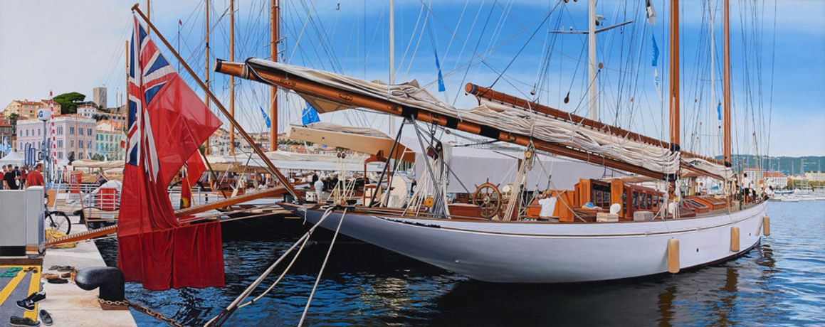 Christian Marsh 'Panerai Classic Yachts Challenge, Cannes' Oil on canvas, 150 x 60 cm