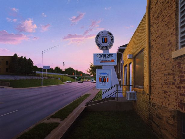 Steven Kozar 'Adhesive Plant Sunset' Acrylic on panel,  45.6 x 60.8 cm
