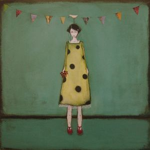 Jackie Henderson, Betty With Bunting (and roses), acrylic and mixed media, 40 x 40 cm