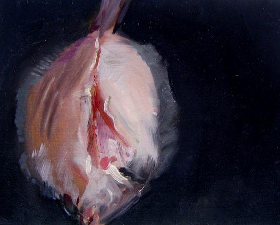 Flat Fish by Charlotte Snook, oil on panel 15 x 12cm