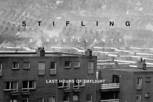 Willie Doherty — Last hours of dayligt Black and white photograph with text Centre Culturel Irlandais — Willie Doherty