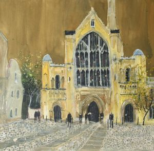 West Entrance, Norwich Cathedral Watercolour / Mixed Media 37x37cm