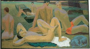 Duncan Grant, Bathers by the Pond, 1920–1921, oil on canvas, Pallant House Gallery (Hussey Bequest, Chichester District Council, 1985) © Estate of Duncan Grant