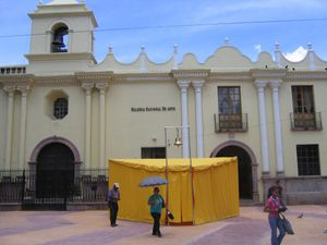Pablo Helguera, The School of Pan-American Unrest , 2006. Installation view, Schoolhouse in front of the Galeria Nacional de Arte, Honduras. Courtesy of the Artist