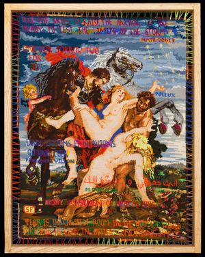 Sylvie Franquet, Hitched to the Stars, 2014. Wool, acrylic and lurex on cotton canvas, 76 x 58 cm. Photo by Jonathan Greet, courtesy of October Gallery